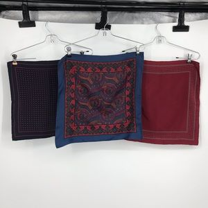 Three Men's Silk Pocket Squares Blues and Maroons
